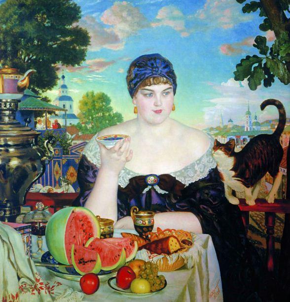 """""""!Купчиха за чаем"""". 1918 г. Морские рецепты"""