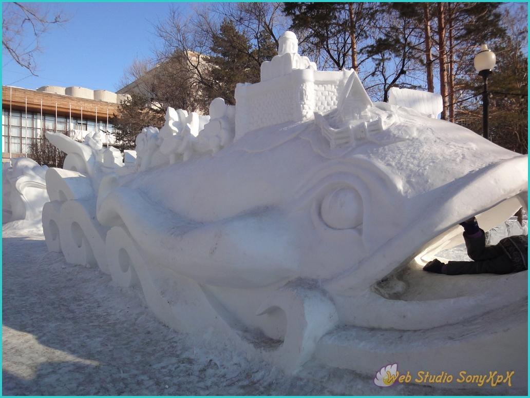 снег, снежный, скульптуры, снежные фигуры, снежная баба, зима, веселье